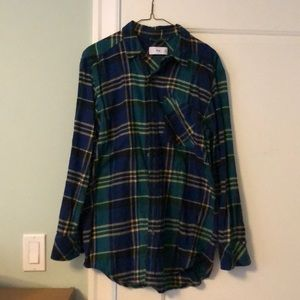 Oversized TNA Green Yellow plaid button up flannel